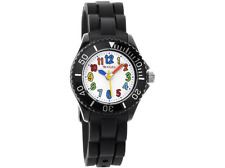 Tikkers Kids Black Rubber/silicone Strap Watch With Bright Funky Coloured TK0016
