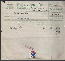 US 1930's NRA STAMPS ON 4 COMPANY INVOICES