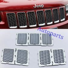 Chrome Front Mesh Grille hole Insert trim for Jeep Grand Cherokee 2014 2015 2016