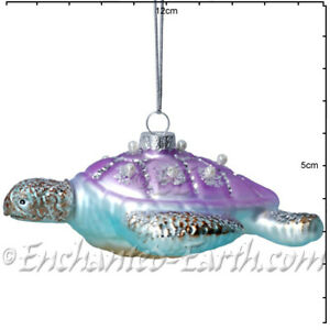 Gisela Graham - Magical Under The Sea Decorations - Glass Turtle - 11.5cm