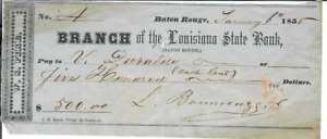 1855 CHECK DRAWN ON BRANCH OF THE LOUISIANA STATE BANK W S PIKE  $500.00