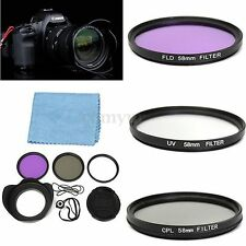 58mm UV FLD CPL Circular Polarizing Filter Kit Set + Lens Hood For Canon Camera