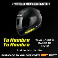 PEGATINAS PERSONALIZABLES (X2) CON TU NOMBRE AMARILLO REFLECTANTE CASCO DE MOTO