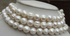 """Natural Huge south sea 10-11mm white pearl necklace 56""""14K Gold buckle"""