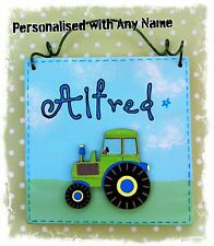 Tractor Room Door Sign Plaque PERSONALISED WITH ANY NAME  Boys Farm Wooden