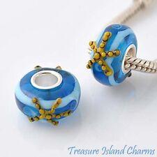 STARFISH LAMPWORK MURANO GLASS .925 Sterling Silver EUROPEAN EURO Bead Charm