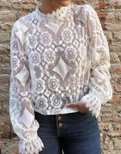 Women Long Sleeve Halter Holloe Out Casual Spring Lace Loose Blouse T-shirt Tops