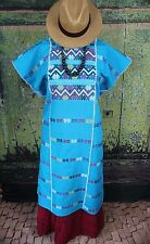 Turquoise Amuzgo Huipil Dress Hand woven Mexico Cowgirl Hippie Santa Fe Peasant