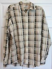 Burberry London Men's Dress Tan/Black Check Casual 100% Cotton Shirt XL 17082