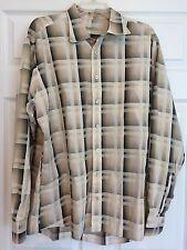 Burberry London Men's Dress Tan/Black Check Casual 100% Cotton Shirt XL 17082