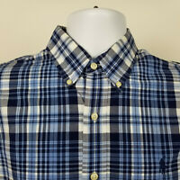 Ralph Lauren Mens Blue Plaid Check Dress Button Shirt Size Medium M
