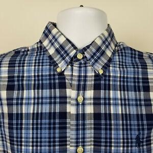 Ralph Lauren Mens Blue Plaid Check Dress Button Shirt Size Medium M