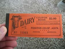 COUPON DAIRY BOOK FOSSTON CO-OP ASS'N FOSSTON MINNESOTA UNUSED $2.00 IN COUPONS