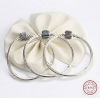 Sterling Silver Bracelet Signature Clasp Women Snake Chain Bracelet S925