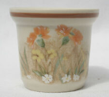 Vintage Handpainted Pottery Egg Cup - Floral Pattern - Stamped made in England.