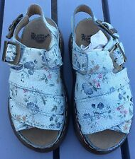 Ladies Dr Martens 8330 Blue Floral Leather Chunky Sandals Size 3/36 Brand New