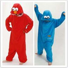 Unisex Adult Sesame Street Elmo Cookie Monster Onesie1 Cosplay Costume Pajamas