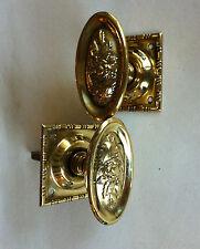 Reclaimed Pair Brass Regency Style Ornate Door Knobs Handles Furniture (PL227)