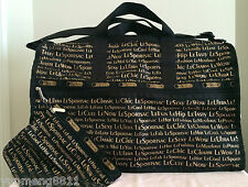 NWT LeSportsac LARGE WEEKENDER BAG tote duffel lecute black gold $142