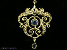 CP359 SUPERB Genuine 9ct Solid Gold Natural Sapphire & Pearl Pendant Vintage sty