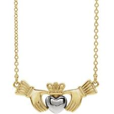14k Yellow and White Gold Claddagh Necklace