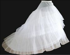 New High-Quality White 2hoops Crinoline Wedding Train Petticoat in stock