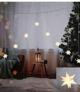 LED Weihnachtsstern Lichterkette 3D Advent Stern Weihnachtsdeko Weiß Beleuchtung