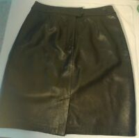 Alfani Women's Black 100% Lamb Leather Knee Length Skirt Size 4