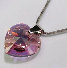 Heart Pendant Pink Crystal Swarovski Elements