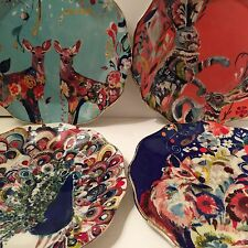 Full Set Starla Hoffman Anthropologie Mooreland Plates * Peacock Hare Fox & Deer