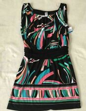 JFW Women's Blouson Dress - Black Multi-Color - Size XL New with tags