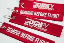 REMOVE BEFORE FLIGHT x JDMFV Red & White Stitch Woven JDM Aviation Keychain tag