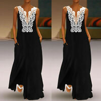 Women Summer Daily Casual V Neck Tank Sleeveless Lace Solid Hollow Long Dress
