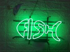 """Green Fish 17""""x10"""" Neon Sign Light Lamp Beer Bar With Dimmer"""