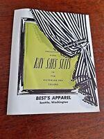 Vintage 40s 1940s Kay Saks Suits ~ Best Apparel, Seattle Fold out Brochure