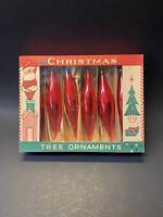 Vintage 1950s Fantasia Red Glass Teardrop Crystal Christmas Tree Ornaments w Box