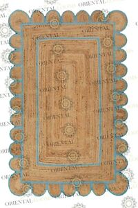 Scallop Jute Blue Hand Made Rug,Bohemian Decor Inspire, Customize in Any Size