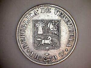 VERY RARE!!! VENEZUELA - SILVER 1 REAL - YEAR 1858 A -