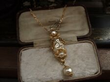 Vintage Jewellery Gold Flower Baroque Pearl Drop Necklace Pendant. Haskell