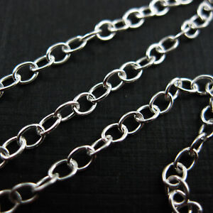 Sterling Silver Chain-Bulk Unfinished Chain 925 -Strong Oval Cable Chain 4mm