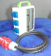 Stromverteiler,Adapter 32A auf 6x Schuko mit 6xB16A Sicherungen mit Fi-Schalter