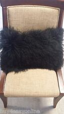 "Handmade Mongolian Fur 12""x20"" Rectangle Black Pillow Cushion Case & back Fabric"