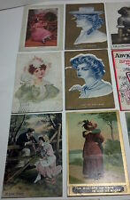 A set of 16 vintage postcards 100+ years old featuring nostalgic woman.