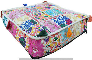 Patchwork Pouf Cover Handmade Indian Cotton Vintage Ottoman Square 16X16X5 Inche