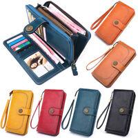 Purse Leather Clutch  Long Wallet  Business Card Holder Bag Female Money Clip