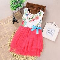 Summer Kids Floral Princess Dress Baby Girls Flower Party Wedding Prom Dresses