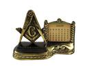Vintage Masonic Freemason Brass Compass Perpetual Desk Office Calendar