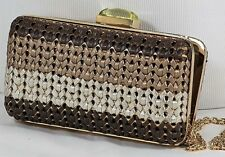 Italian woven leather, 3 color evening bag brown,taupe, silver; FACTORY PRICE!!