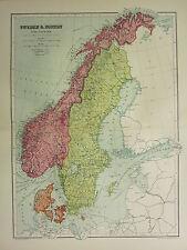 1904 ANTIQUE MAP ~ SWEDEN & NORWAY WITH DENMARK ~ GOTHLAND CHRISTIANSAND BERGEN