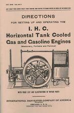 International IHC Horizontal Tank Cooled Gas & Gasoline Engine Directions Book
